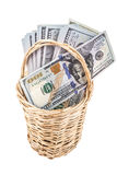 American dollars in a basket Royalty Free Stock Photos