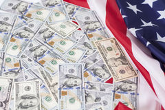 American dollars bills with flag Royalty Free Stock Photography