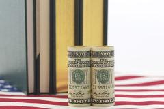American dollars, books, stars and stripes pattern Royalty Free Stock Photo