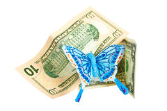 American dollars with butterfly. Royalty Free Stock Photo