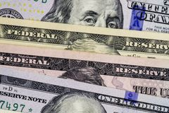 American dollars cash money. background from US dollars. different banknotes royalty free stock photos