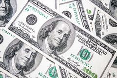 American dollars in denominations of 100. As a background Royalty Free Stock Photos