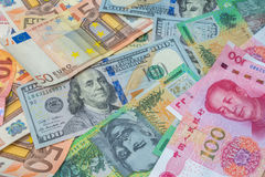 American dollars, Euro money, Australian dollars and Chinese yua Stock Photography