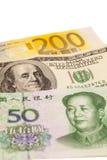 American dollars, European euro and Chinese yuan bills Stock Photo