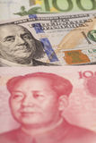 American dollars, European euro and Chinese yuan bills Stock Images