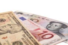 American dollars, European euro and Chinese yuan bills Royalty Free Stock Photo