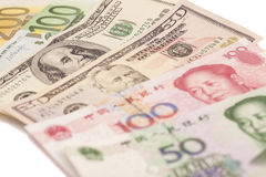 American dollars, European euro and Chinese yuan bills Stock Image