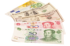 American dollars, European euro and Chinese yuan bills Royalty Free Stock Image