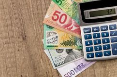 American dollars, European euro, Swiss franc, Canadian dollar, australian dollar. Bills royalty free stock image