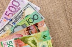 American dollars, European euro, Swiss franc, Canadian dollar, australian dollar. Bills stock photography