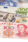 American dollars, European euro,Swiss franc and Chinese yuan bil Royalty Free Stock Photo
