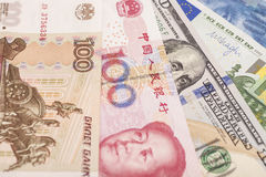 American dollars, European euro,Swiss franc,Chinese yuan and Rus Stock Photo