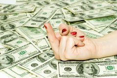 American Dollars and Finger Stock Image