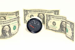 American Dollars and Gas Gauge Royalty Free Stock Image