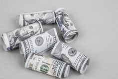 American Dollars on grey. Some American Dollars on grey background Royalty Free Stock Images
