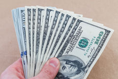 American dollars in hand counting royalty free stock photos
