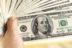 American dollars in hand Royalty Free Stock Photography