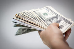 American dollars in hand Royalty Free Stock Photo
