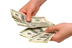 American dollars in the hands Stock Image