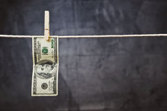 American Dollars hanging on rope Royalty Free Stock Photography