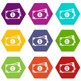 American dollars icon set color hexahedron Royalty Free Stock Images