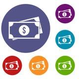 American dollars icons set Royalty Free Stock Photo