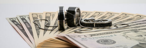 American dollars with jewelry Stock Image