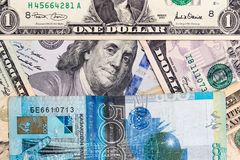 American dollars and Kazakhstan tenge royalty free stock images