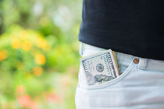 American dollars money in pocket Stock Images