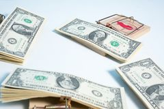 American dollars in mouse trap Stock Images