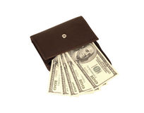 American dollars in open brown wallet. Five hundred american dollars in open brown wallet Royalty Free Stock Photography