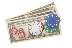 American dollars with poker-chips and dice Stock Image