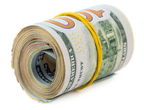American dollars in roll Stock Photos