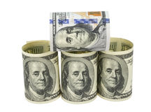 American dollars rolled up. Isolated on the white Stock Photo