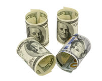 American dollars rolled up. Isolated on the white Royalty Free Stock Photo