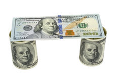 American dollars rolled up. Isolated on the white Stock Photos