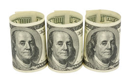 American dollars rolled up. Isolated on the white Stock Image