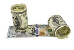 American dollars rolled up. Isolated on the white Royalty Free Stock Images