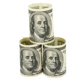 American dollars rolled up. Isolated on the white Stock Photography