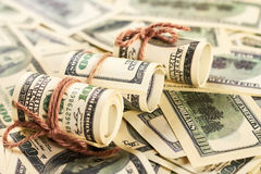 American dollars in rolls. Royalty Free Stock Photography