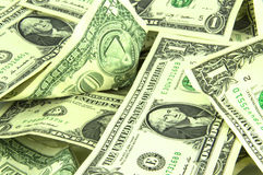 American dollars scattered as a background royalty free stock photos