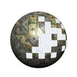 American dollars sphere with pieces Stock Photography