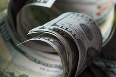 American dollars. A stack of hundred dollar bills. Close up royalty free stock photos