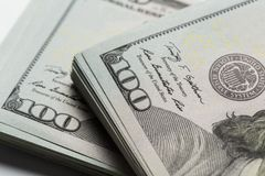 American dollars. A stack of hundred dollar bills. Close up royalty free stock photo