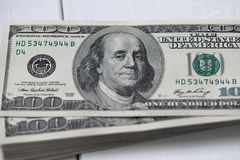 American dollars. A stack of hundred dollar bills Royalty Free Stock Image