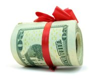 American dollars tied with red ribbon Stock Photography