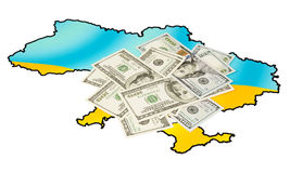American dollars on ukrainian map Stock Image