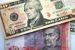 American dollars and ukranian hrivna Royalty Free Stock Photography