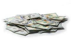 Stack of hundred dollars on white royalty free stock photography
