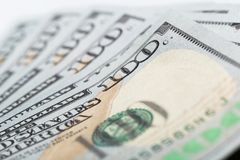 Close-up american dollar banknotes stock photography